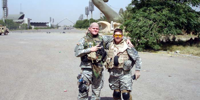 Medic SPC James Gorman and Me at the Crossed Sabres in Baghdad's Green Zone.