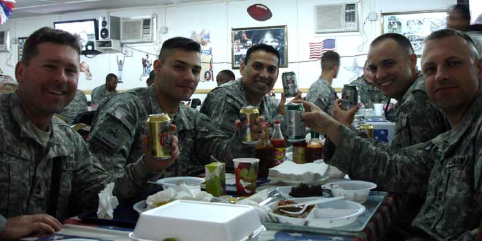 Myself, 1LT Durham, CPT Lozano, 1LT Lucciola, and Chaplain (CPT) Lahmon toasting 1LT Lucciola's promotion with our favorite non-alcoholic beer.